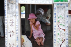 Vietnamese Girl at a Covered Bridge - Version 2